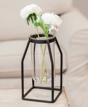 Picture of Glass Tube Vase w/Metal Frame, Wide