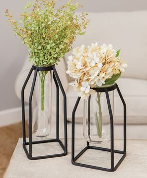 Picture of Glass Tube Vase w/Metal Frame, Thin