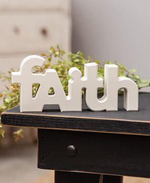 """Picture of Wooden """"Faith"""" Block, Cream"""