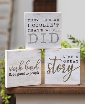 Picture of Live A Great Story Square Block, 3 Asstd.