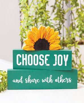 Picture of Choose Joy Sunflower Block Stackers, 3/Set