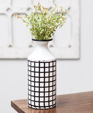 Picture of Farmhouse Check Enamel Vase, Small