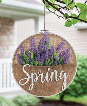 Picture of Spring Lavender Burlap Sampler Wall Hanger