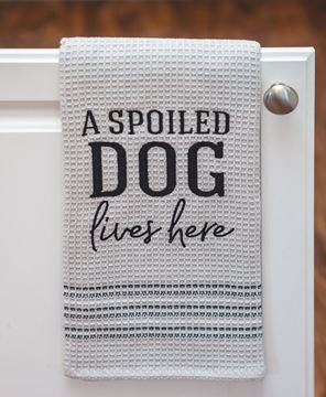Picture of A Spoiled Dog Lives Here Dish Towel
