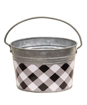 Picture of Black & White Buffalo Check Oval Pail