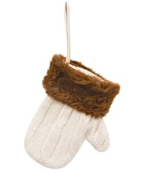 Picture of Knit Cream Mitten Gift Pocket