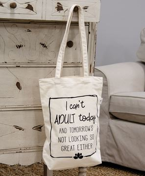 Picture of I Can't Adult Today Canvas Tote