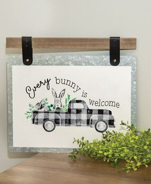 Picture of Every Bunny Is Welcome Bunny & Truck Plaque