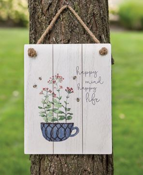 Picture of Happy Mind Happy Life Distressed Shiplap Sign