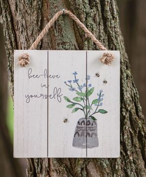 Picture of Bee-Lieve in Yourself Distressed Shiplap Sign