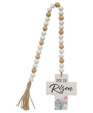 Picture of He Is Risen Wooden Bead Garland w/Cross