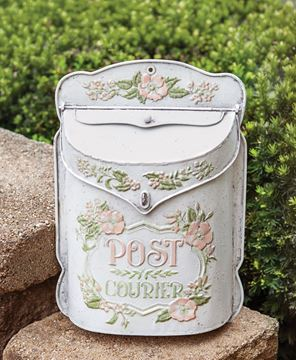 Picture of Vintage Flowers Distressed Metal Post Box
