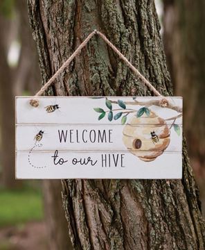 Picture of Welcome To Our Hive Distressed Shiplap Sign
