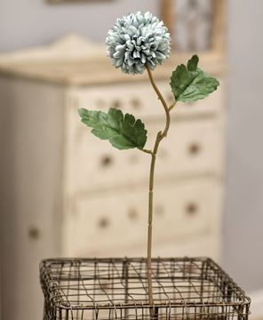 "Picture of Pompom Flower Stem, 14"", Blue"