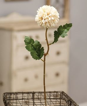 "Picture of Pompom Flower Stem, 14"" White"