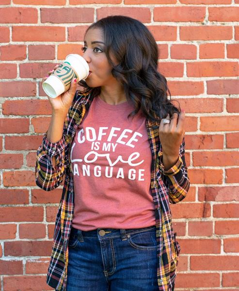 Picture of Coffee Is My Love Language T-Shirt, Heather Clay