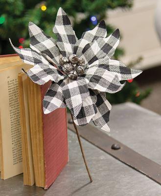 Picture of Black & White Buffalo Check Poinsettia Pick