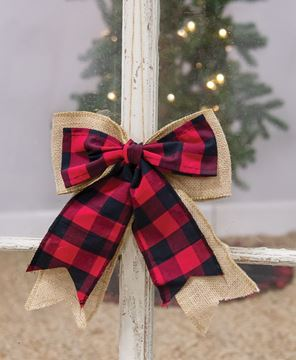 Picture of Buffalo Check and Burlap Bow