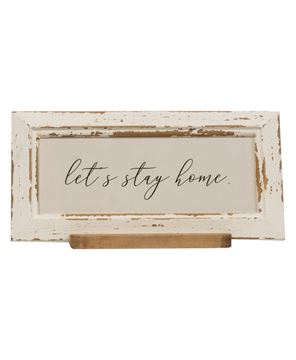 Picture of Let's Stay Home Distressed Frame w/Holder