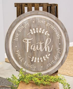 Picture of Distressed Faith Phrases Engraved Round Sign