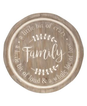 Picture of Distressed Family Phrases Engraved Round Sign