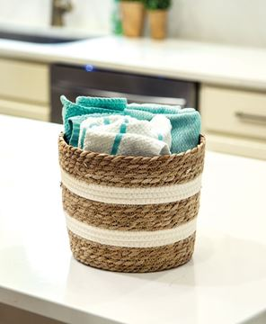 """Picture of Jute & Cotton Round Basket, 8""""H"""