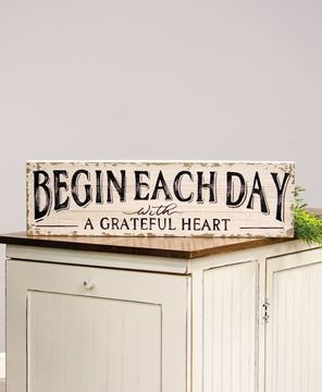 Picture of Begin Each Day with A Grateful Heart Distressed Wood Sign