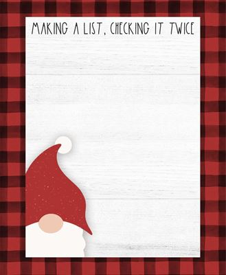 Picture of Making A List, Checking It Twice Gnome Mini Notepad