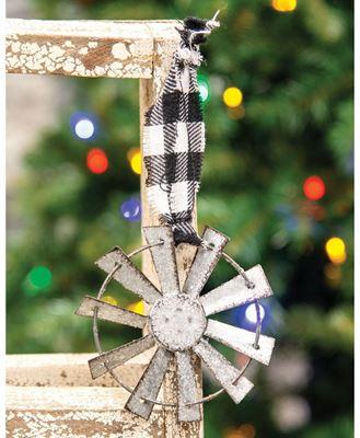 Picture of Sparkle Windmill Ornament w/Black & White Buffalo Check Hanger