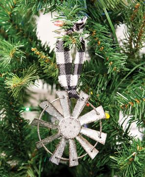Picture of Sparkle Windmill Ornament w/Black & White Buffalo Check Hanger