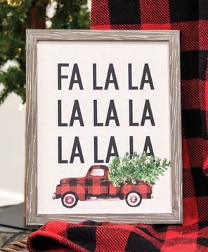 Picture of Fa La La Buffalo Check Truck Canvas Print