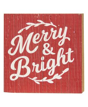 Picture of Merry Bright Rustic Wood Box Sign