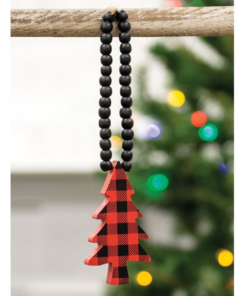 Picture of Red & Black Buffalo Check Beaded Christmas Tree Ornament