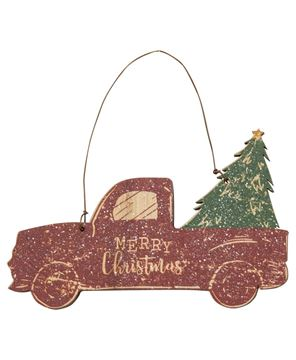 Picture of Glittered Wood Merry Christmas Truck Ornament