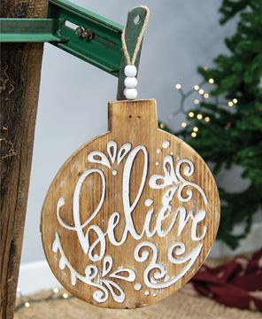 Picture of Believe Engraved Bulb Ornament Sign