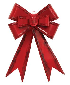 Picture of Distressed Red Metal Hanging Gift Bow