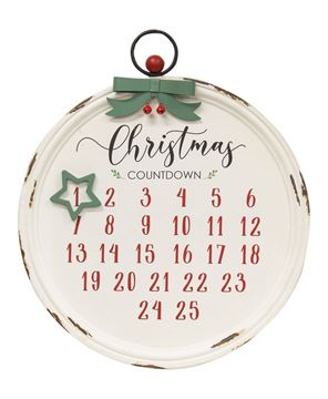 Picture of Distressed Christmas Bulb Countdown Calendar w/Star Magnet