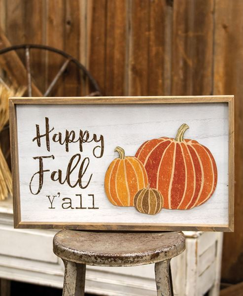 Picture of Happy Fall Y'all Distressed Wooden Frame