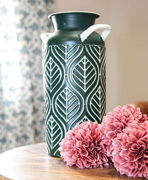 Picture of Leaf Etched Enamel Milk Can