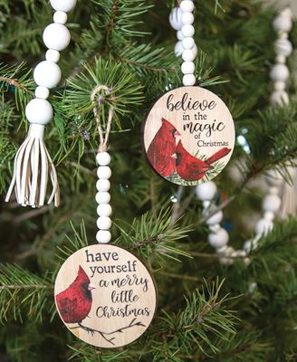 Picture of Christmas Cardinal Round Beaded Ornament, 2 Asstd.