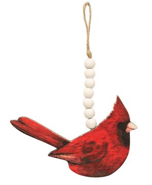 Picture of Wooden Cardinal Beaded Ornaments, 2 Asstd.