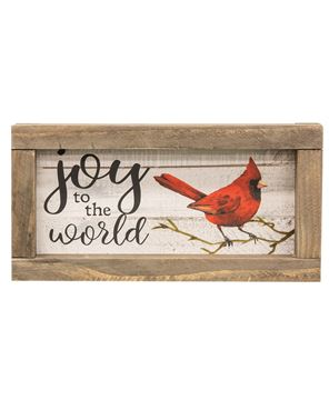 Picture of Joy to the World Cardinal Rustic Framed Sign, 2 Asstd.