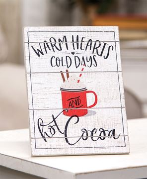 Picture of Warm Hearts Hot Cocoa Pallet Easel Sign