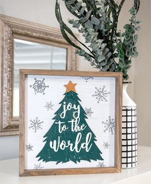 Picture of Joy to the World Christmas Tree Framed Sign