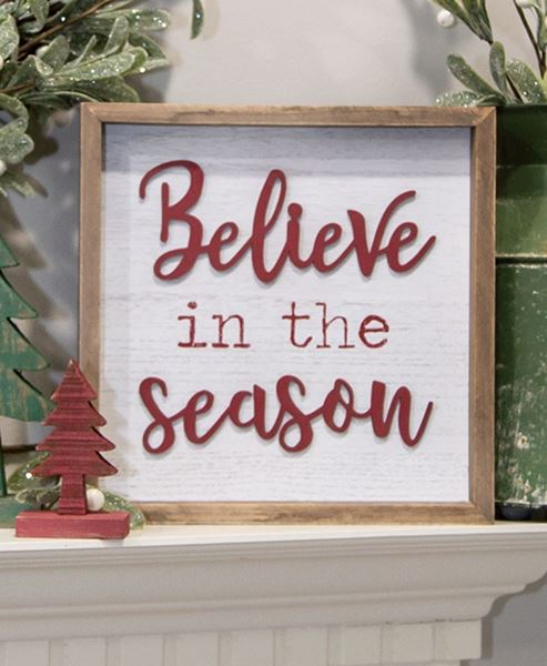 Picture of Believe In the Season Distressed Wooden Frame Sign