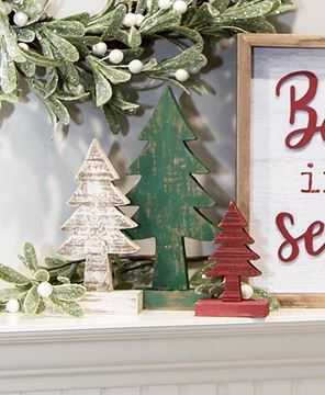 Picture of Rustic Wood Christmas Trees, 3/Set