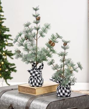 """Picture of Buffalo Check Sparkle Pine Tree, 12"""""""
