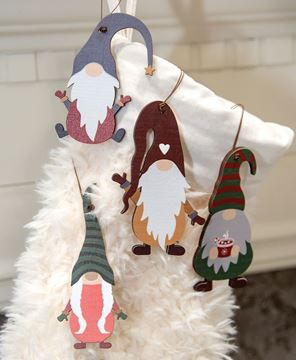 Picture of Wooden Winter Gnome Ornaments, 4/Set