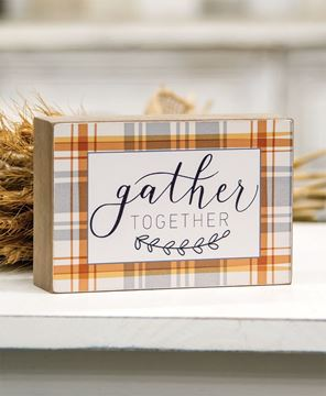 Picture of Gather Together Plaid Box Sign