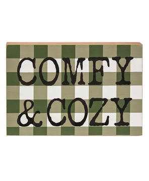Picture of Comfy & Cozy Green Buffalo Check Box Sign